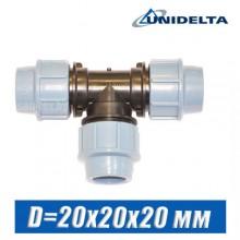 Тройник ПЭ Unidelta D=20x20x20 мм