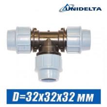 Тройник ПЭ Unidelta D=32x32x32 мм
