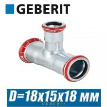 Тройник пресс оцинкованный Geberit Mapress D18x15x18 мм