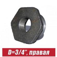 """Футорка чугунная D=3/4"""", правая"""