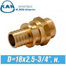"Соединитель KAN-therm Push PPSU D=18x2,5-3/4"", н."