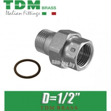 """Американка никелированная прямая TDM Brass D1/2"""""""