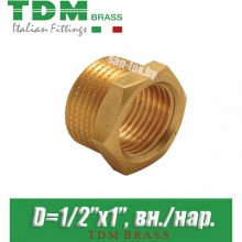 "Футорка латунная TDM Brass D1/2""x1"", вн./нар."