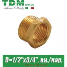"Футорка латунная TDM Brass D1/2""x3/4"", вн./нар."