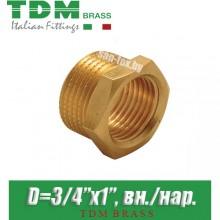 "Футорка латунная TDM Brass D3/4""x1"", вн./нар."