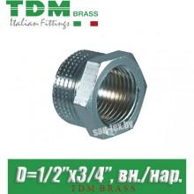 """Футорка никелированная TDM Brass D1/2""""x3/4"""", вн./нар."""