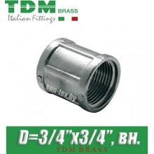 """Муфта никелированная TDM Brass D3/4""""x3/4"""", вн./вн."""