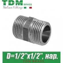 """Ниппель никелированный TDM Brass D1/2""""x1/2"""", нар./нар."""