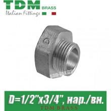 """Переход никелированный TDM Brass D1/2""""x3/4"""", нар./вн."""