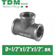 "Тройник никелированный TDM Brass D1/2""x1/2""x1/2"", вн./вн./вн."