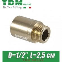 """Удлинитель латунный TDM Brass D1/2"""", L2,5 см"""