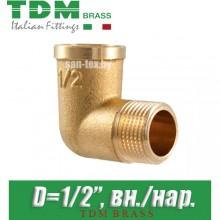 "Угол латунный TDM Brass D1/2"" вн./нар."