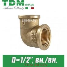 "Угол латунный TDM Brass D1/2"" вн./вн."
