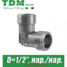 "Угол никелированный TDM Brass D1/2"" нар./нар."