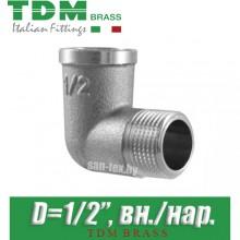 """Угол никелированный TDM Brass D1/2"""" вн./нар."""