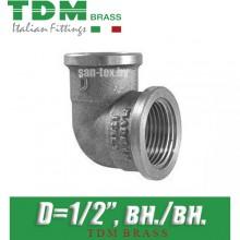 """Угол никелированный TDM Brass D1/2"""" вн./вн."""