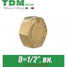 """Заглушка латунная TDM Brass D1/2"""", вн."""