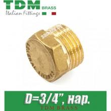 """Заглушка латунная TDM Brass D3/4"""", нар."""