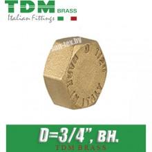 """Заглушка латунная TDM Brass D3/4"""", вн."""
