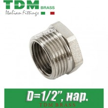 "Заглушка никелированная TDM Brass D1/2"", нар."