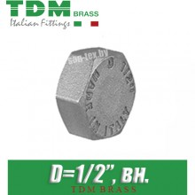 """Заглушка никелированная TDM Brass D1/2"""", вн."""
