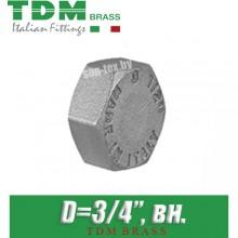 """Заглушка никелированная TDM Brass D3/4"""", вн."""