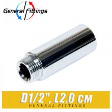 "Удлинитель латунный ХРОМ General Fittings D1/2"", L2,0 см"