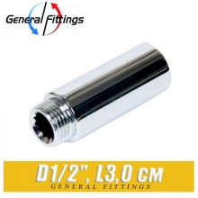 "Удлинитель латунный ХРОМ General Fittings D1/2"", L3,0 см"