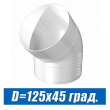Угол вентиляционный D=125 мм 45°
